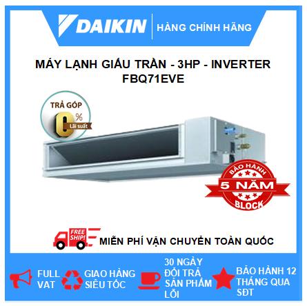Máy Lạnh Giấu Trần Nối Ống Gió FBQ71EVE - 3hp - Daikin 24000btu - Inverter