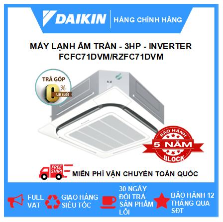 Máy Lạnh Âm Trần FCFC71DVM/RZFC71DVM - 3hp - Daikin 24000btu - Inverter